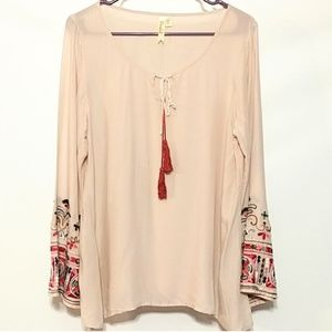 Chenault tunic embroidered boho dip dye tassle